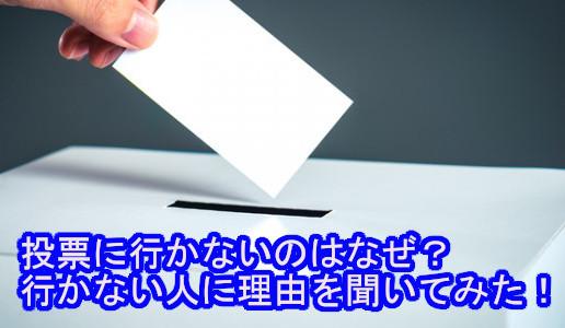 投票に行かないのはなぜ?行かない人に理由を聞いてみた!